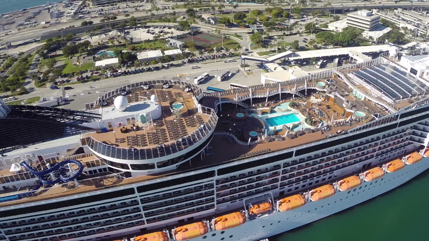 Aerial View Of Cruise Ships In The Port Of Miami Stock Footage - Cruise ship port in miami