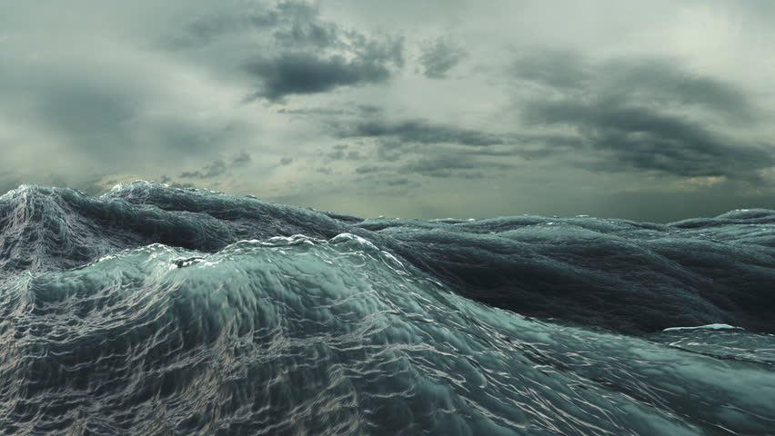 Rough Sea seamless loop. big waves in a stormy ocean. Camera goes underwater (HD, 1920x1080, 1080p, hidef, high definition)
