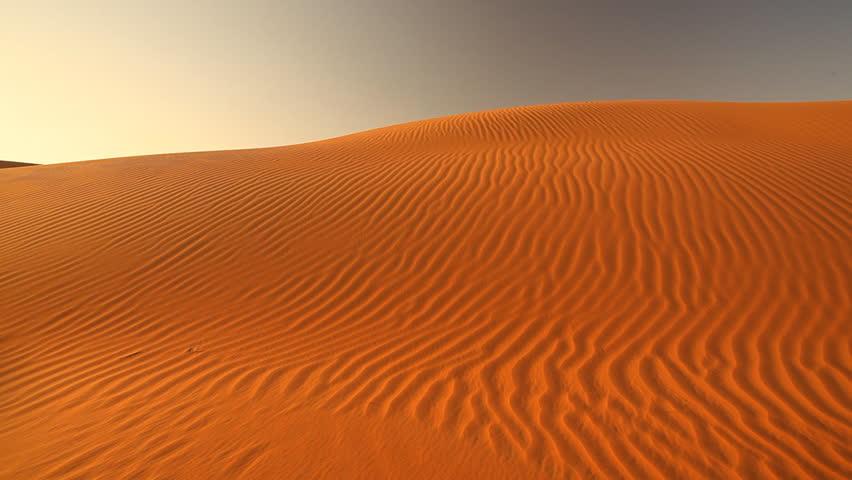 pan shot over beautiful dunes in desert