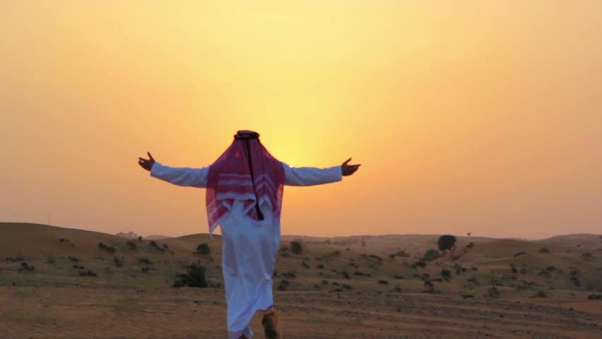 Arabic man at sunset