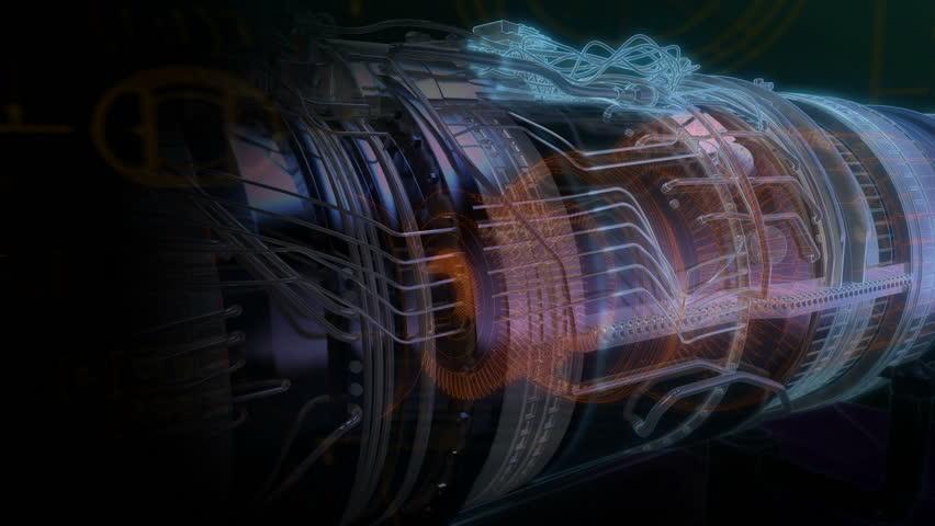 Turbojet Engine Black Wire Scheme Jet