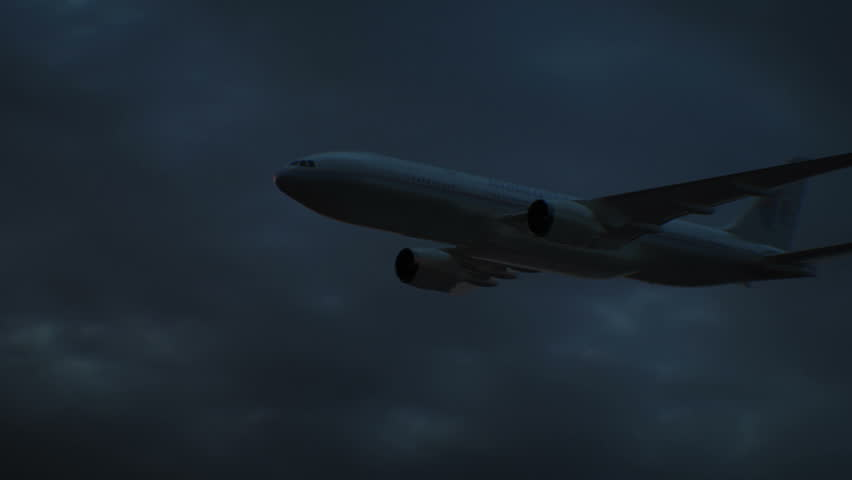 Malaysian Airlines Boeing 777 flying in the night