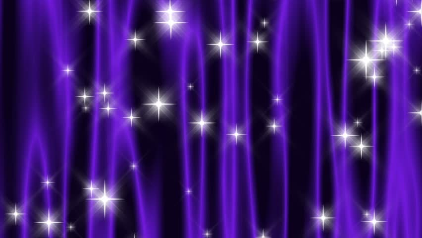 HD 720p wide screen loop of abstract deep purple curtain with falling and shooting stars.