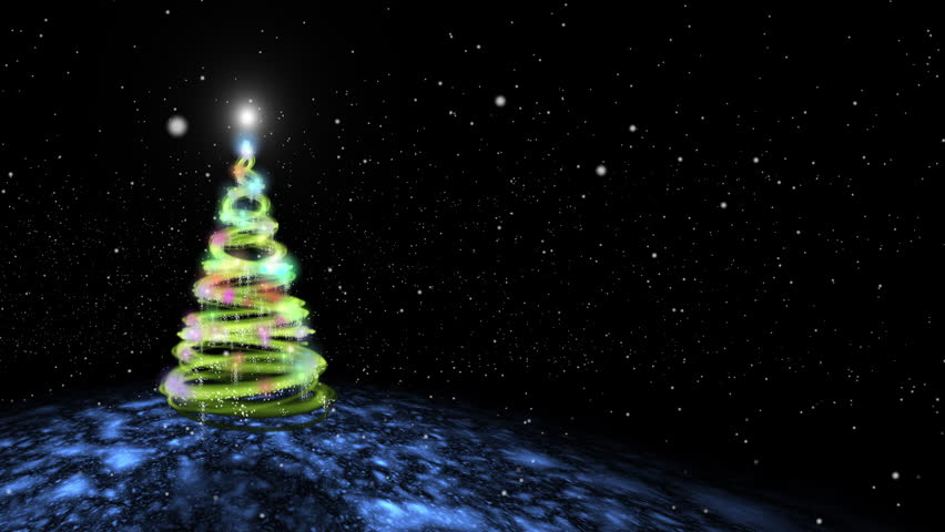 Decorated Christmas tree created with swirling streaks of light moving in spirals.  Tree at side of screen with snowy environment.