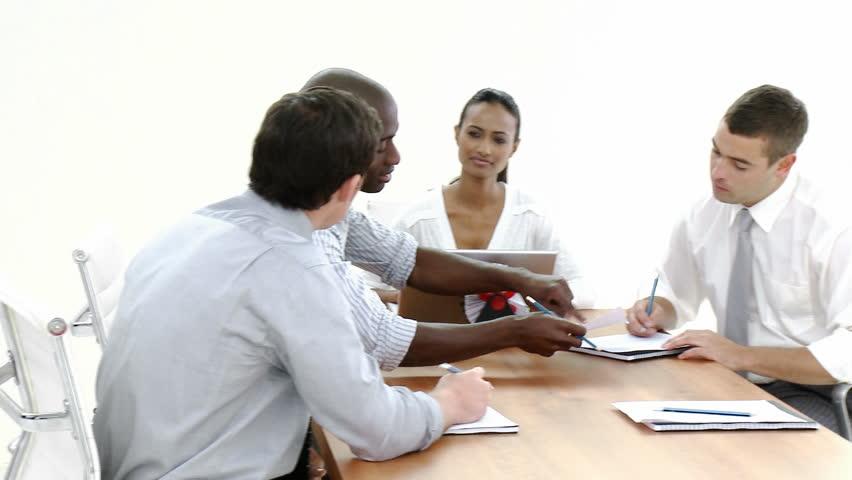 Dolly Shot of a business meeting in progress | Shutterstock HD Video #591880