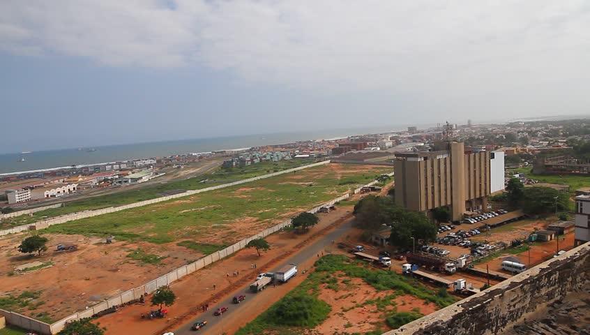 Industrial city, Tema Harbor / port ,Over heard shot, wide shot
