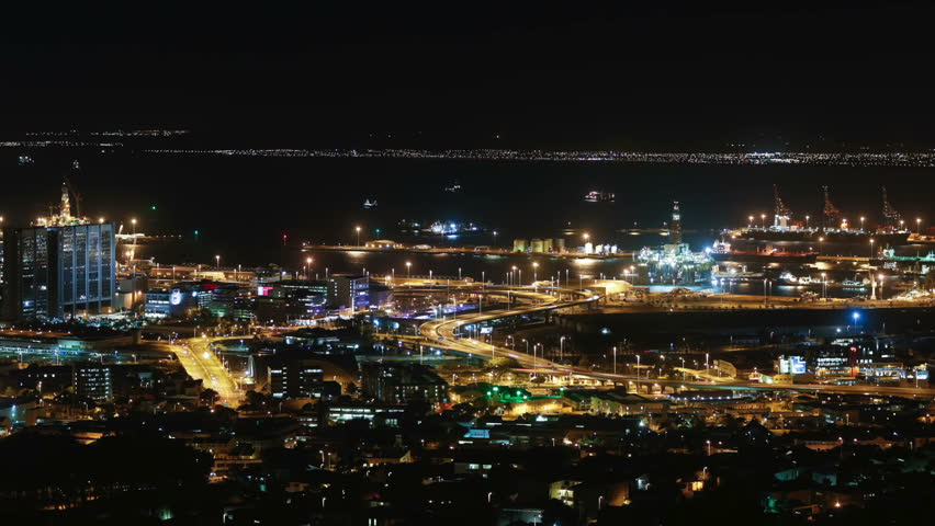 Cape town city overview time-lapse shot during busy night | Shutterstock HD Video #5938850