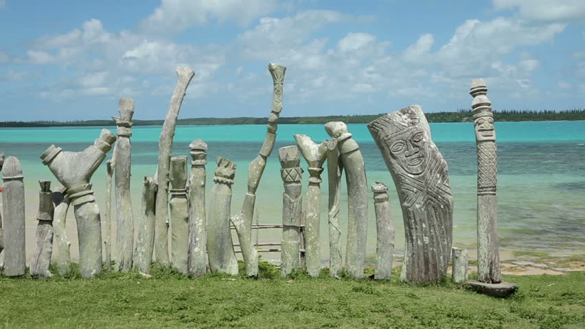 St Maurice Bay Wood Carving, Isle Of Pines, New Caledonia Stock ...