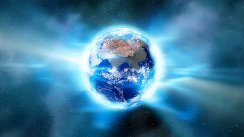 An aura of luminous radiation envelopes the Earth in space (Loop).