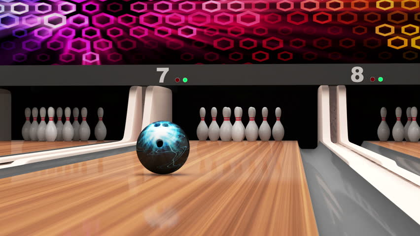 A 3d Animation Of A Bowling Alley In Slow Motion The Ball