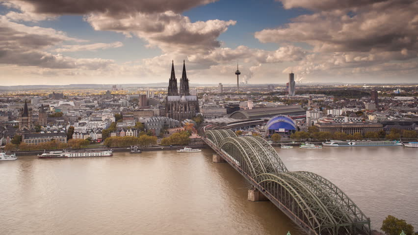GERMANY - CIRCA JUNE 2013: The Cathedral (Dom) and River Rhine, Cologne (Koln), North Rhine Westphalia, (Nordrhein-Westfalen), Germany, Europe