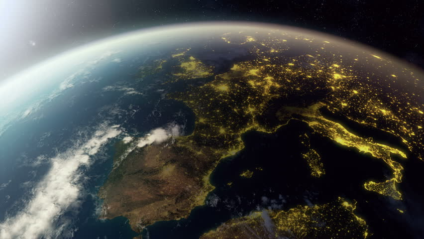3D animation showing europe from space. As it gets dark you see cities light up.