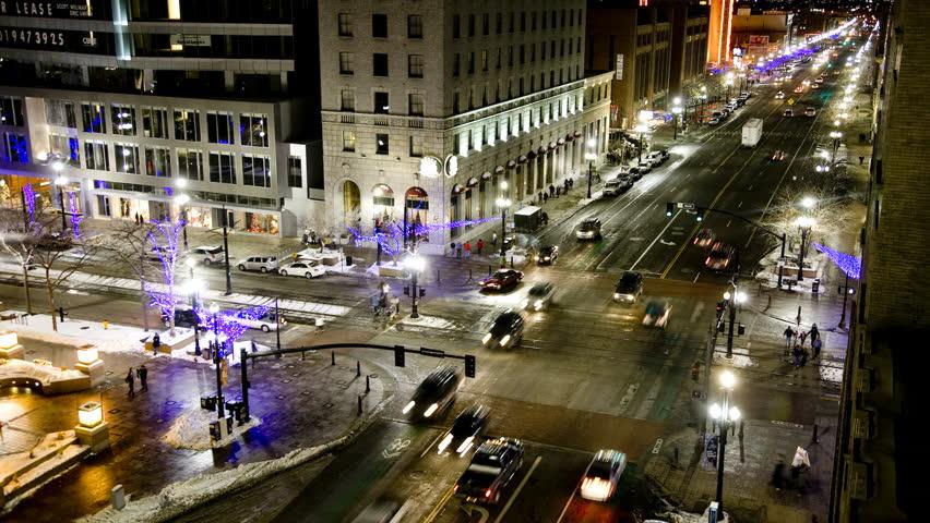 Wide Shot Time lapse Traffic on city road at night / Salt Lake City, Utah, USA