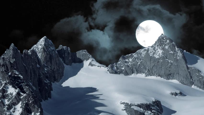 winter snow mountain moon - photo #8