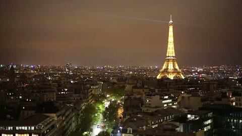 PARIS - CIRCA NOV 2012: Paris at night. Overlooking d'Iéna avenue. November 2012
