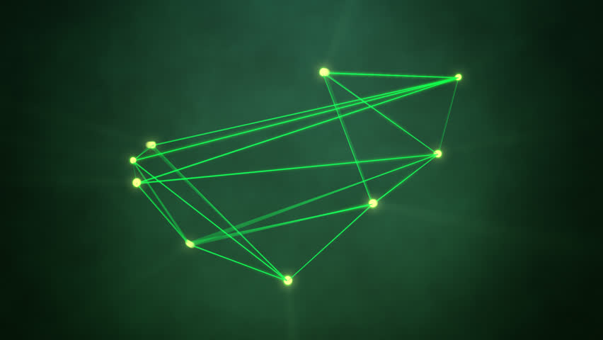 Abstract technology background. Green glowing geometric shape moving with light rays. Network connection concept | Shutterstock HD Video #6096050