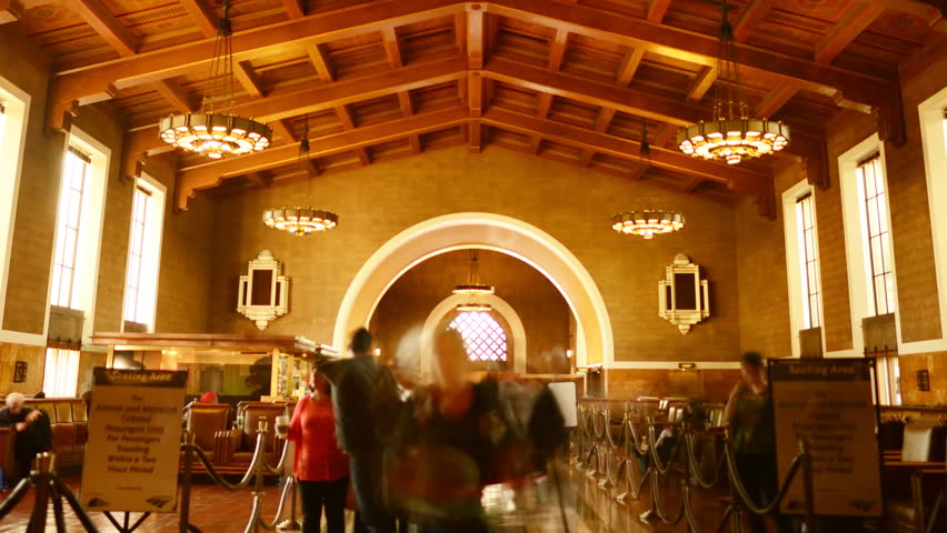 4K Time Lapse of Historic Union Station in Los Angeles with Commuters in Motion Blur -Zoom Out-