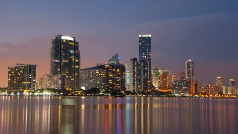 Miami skyline during sunset in 4K seen from across Biscayne Bay