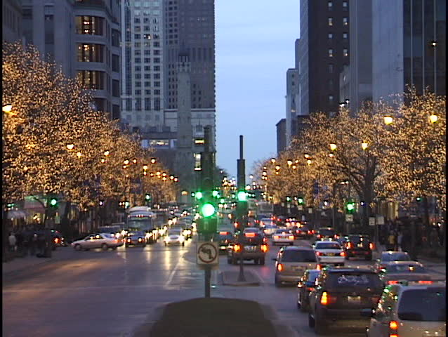 Chicago Michigan Avenue at Christmas - clip 1 of 2