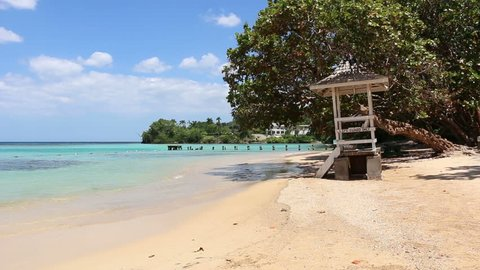 Jamaican White Sand Beach 1. A Caribbean white sand beach on the northern coast of Jamaica, near Dunn's River Falls and the town of Ocho Rios.