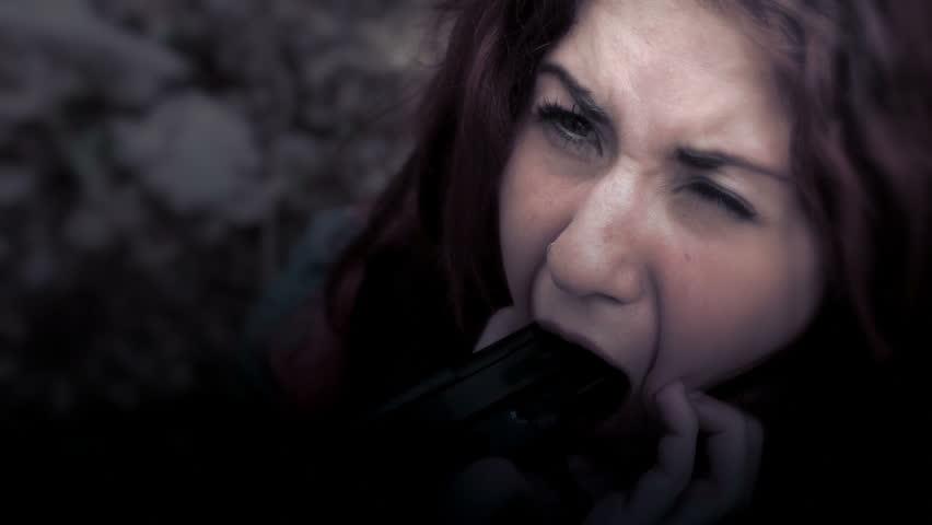 criminal psychopath puts gun in the mouth of a girl - fear