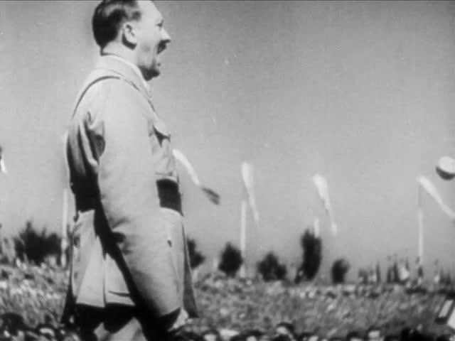 Adolf Hitler addresses crowds in speech in Germany circa World War II