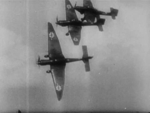 """Three German Junkers Ju 87 """"Stuka"""" Dive Bombers planes in flight, during confrontation with US 36th Infantry Division, Salerno, Italy circa September 1943"""