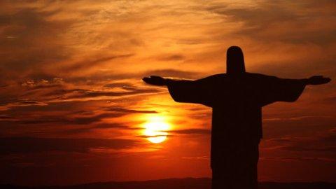 RIO DE JANEIRO, BRAZIL - MARCH 1, 2014 Corcovado Mountain Sunrise Rio de Janeiro Jesus Christ Time Lapse Copyspace Aerial View ( Ultra High Definition, Ultra HD, UHD, 4K, 2160P, 4096x2160 )