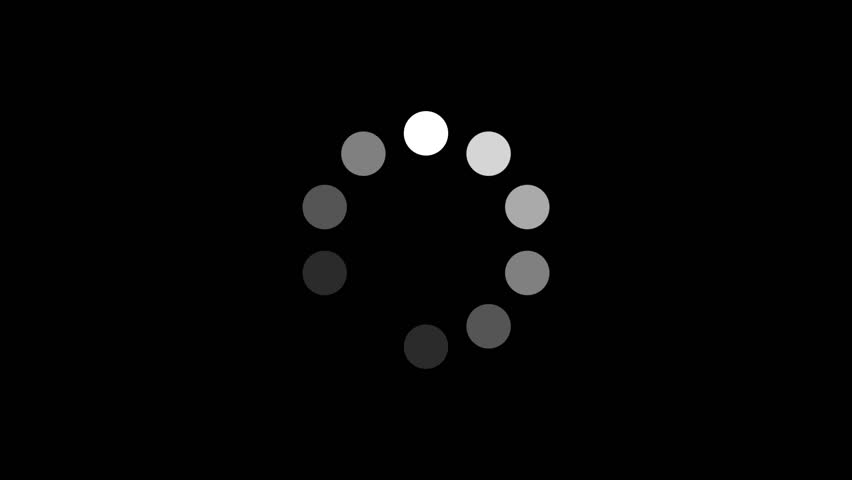 Loading Circle w/ Alpha (30fps). Ten animated dots fading in and out in sequence creating a rotating effect. Rendered large with an alpha channel to layer on top of other elements and footage. #6183920
