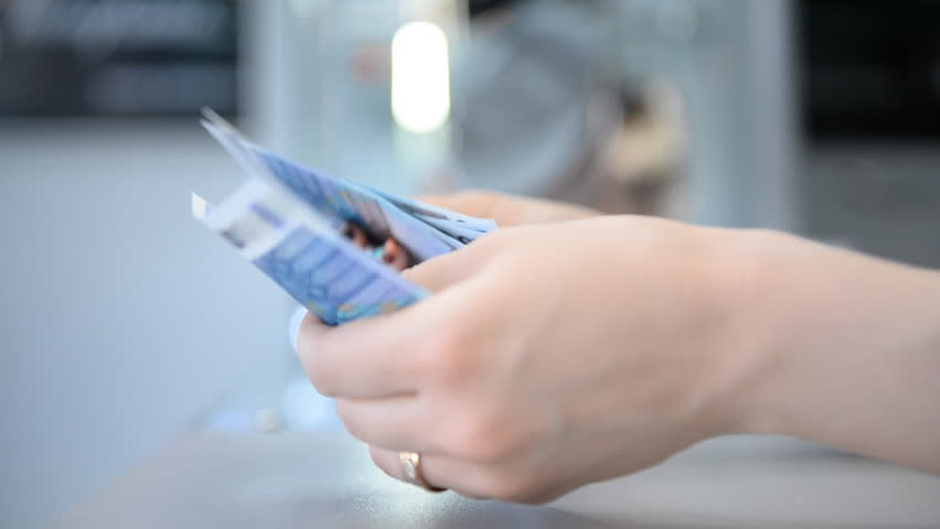 In store. Recalculation of money (Euro bills)    | Shutterstock HD Video #6210161