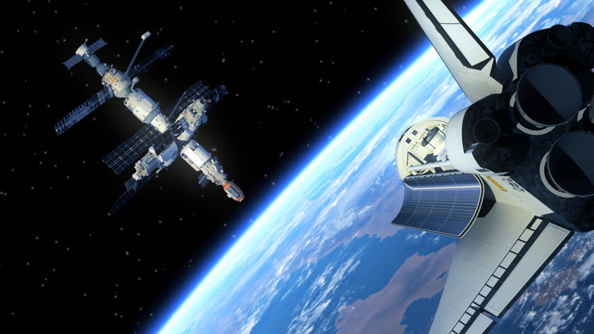 Space Station And Space Shuttle. 3D Animation.