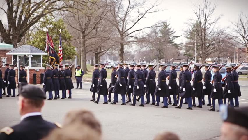 Soldiers marching at military funeral, Arlington National Cemetery in slow motion