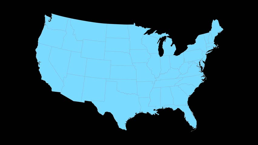 Connecticut Animated Map Video Starts With Light Blue USA - Connecticut in us map