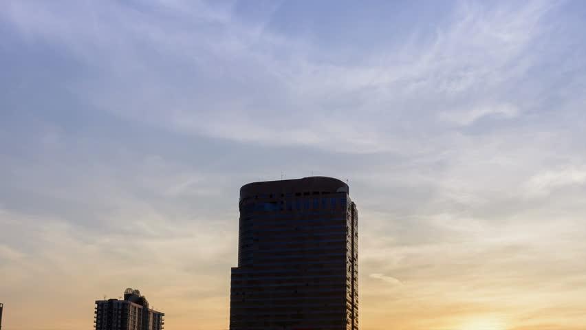 4K:Time lapse View bangkok city at twilight night ,Thailand