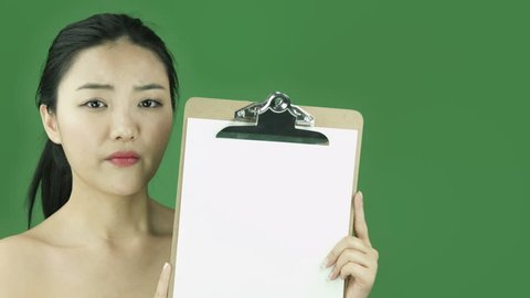 Asian girl naked beauty young adult isolated greenscreen green background upset blank sign