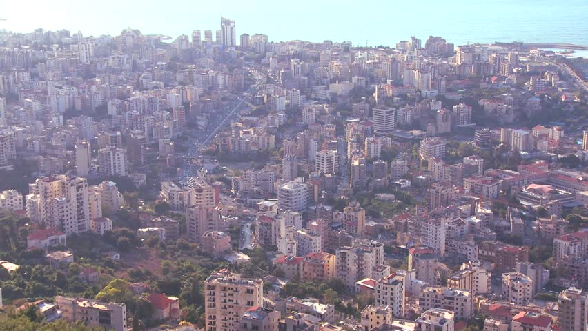 BEIRUT, LEBANON CIRCA 2013 - High angle view of the urban sprawl of Beirut, Lebanon.