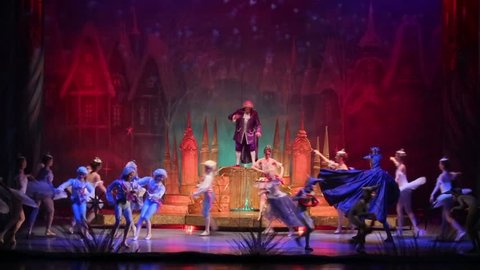 RUSSIA, MOSCOW - DEC 30, 2012: New Years performance ballet The Nutcracker and Mouse King, heroes tale of Hoffmann on stage at Cultural Center ZIL