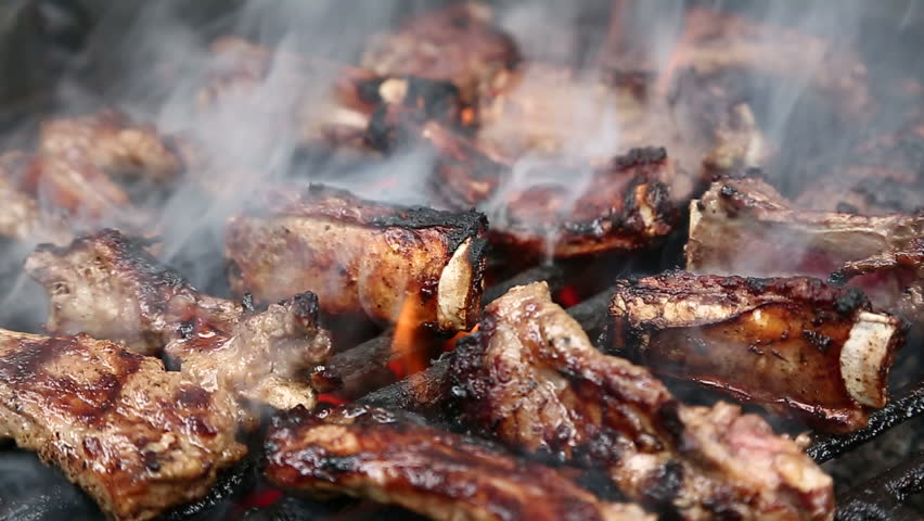 Ribs on barbecue grill
