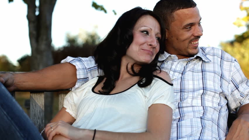 Couple on bench enjoying park and nature #6393770