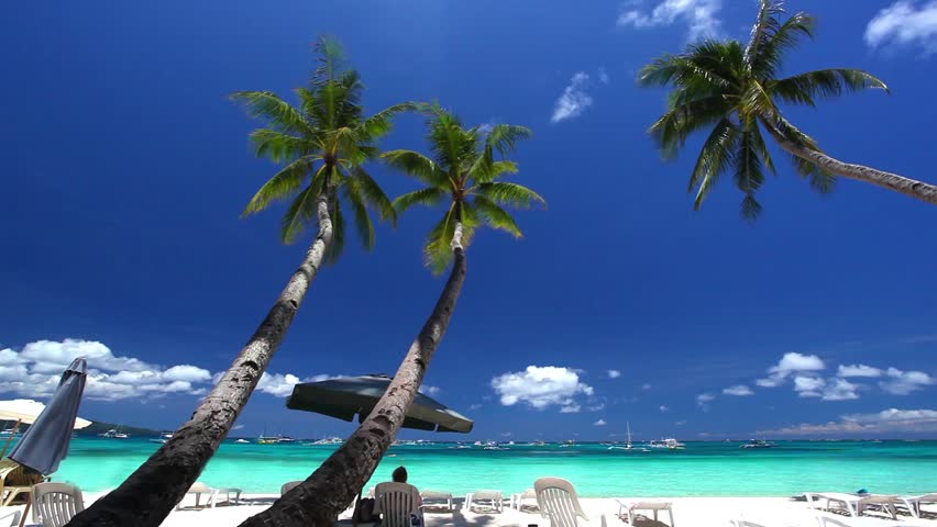 Tropical beach with coconut palms, Philippines, Boracay Island