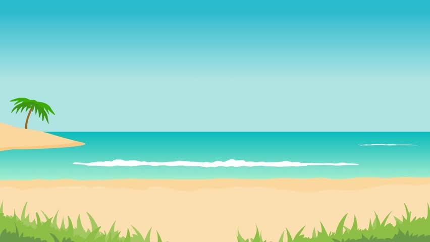 Tropical Island Cartoon: Animation Of Tropical Landscape