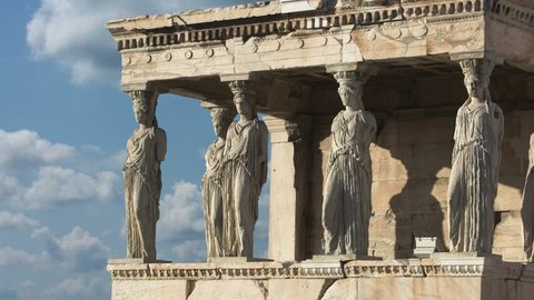 Time Lapse Ancient Acropolis In Athens Greece Porch Of Maidens