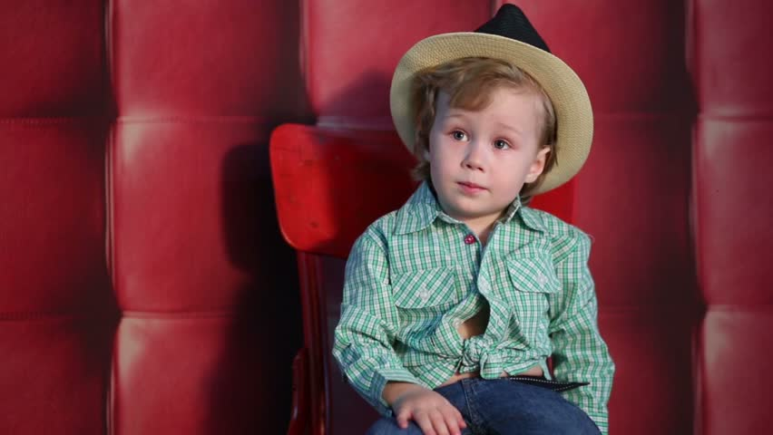 fe2f0fd37 Little Boy in Plaid Shirt, Stock Footage Video (100% Royalty-free ...