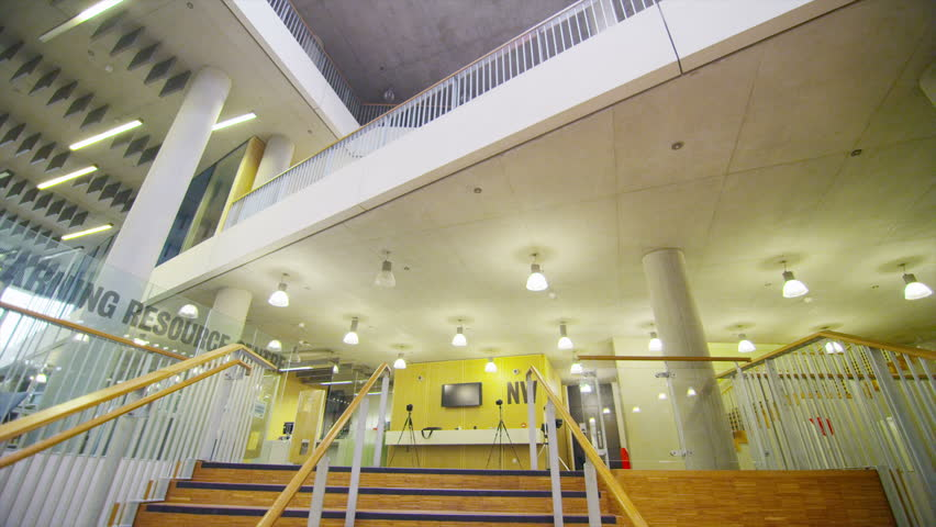 Interior View Of A Large Modern University Building. No People Stock ...