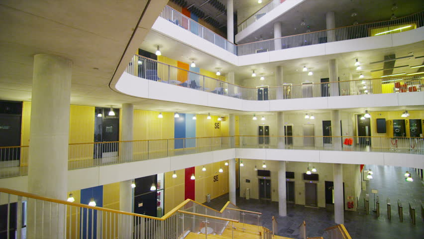 Interior View Of A Large Modern University Building. No People ...