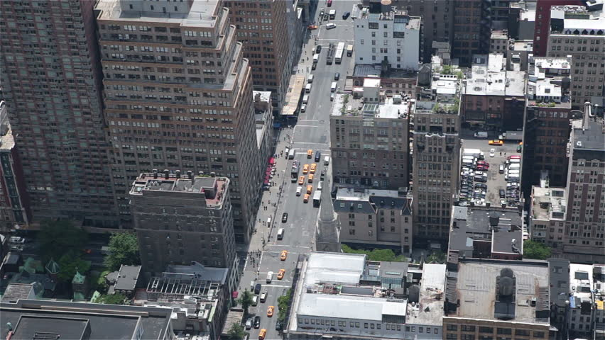Manhattan midtown buildings NYC sunny day traffic parking | Shutterstock HD Video #6556166