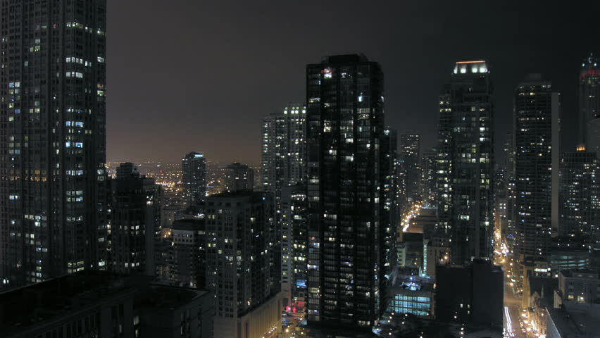 urban downtown night time-lapse...