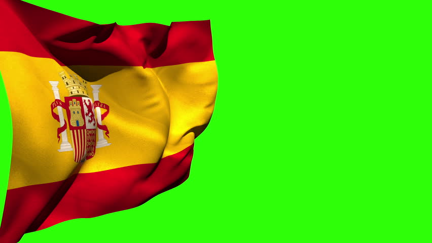 Large spain national flag blowing on green screen background | Shutterstock HD Video #6567254