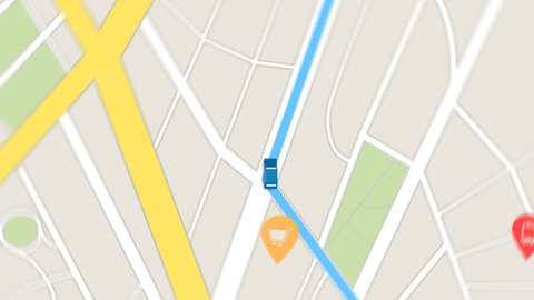 Color animation of blue car as it follows a route generated by GPS along city streets.