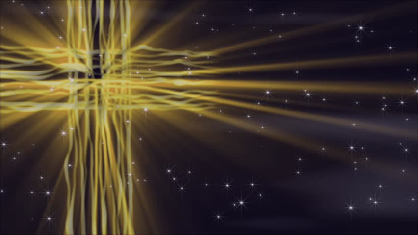 HD Seamless Loop-golden yellow cross of slowly flowing and glowing lines with light rays and particle emanating forth.